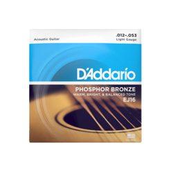 D'Addario EJ16 Phosphor Bronze Acoustic Guitar Strings (Light 12-53)