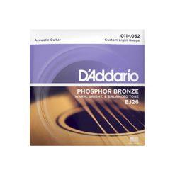 D'Addario EJ26 Phosphor Bronze Acoustic Guitar Strings (Custom Light 11-52)