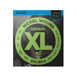 D'Addario EXL165 5-String Nickel Wound Bass Guitar Strings (Custom Light 45-135 Long Scale)